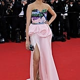 Freida Pinto showed off some leg at the Cannes Film Festival.