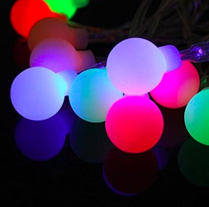 Frosted Led Multi Colored Globe String Lights With Remote