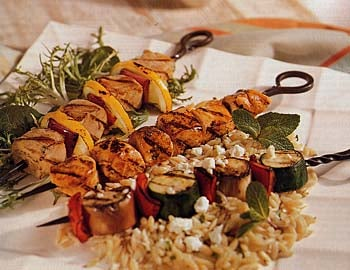 Recipe For Greek-Style Vegetable Kebabs With Orzo and Feta