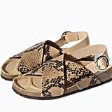 Zara tan snakeskin cork double-strap flat sandals ($100)