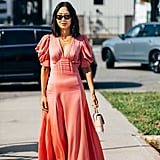 Aimee Song shows us the romantic coral slip dress that looks great with neutral accessories.