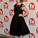 A pretty black prom dress was a more muted choice from Maisie for the TV Choice Awards.
