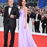 Wearing a floor-sweeping lavender Atelier Versace dress and silver Aquazzura sandals at 2017 Venice Film Festival.