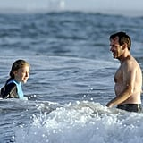 Stephen Moyer and Lilac Moyer took a swim in Venice Beach.