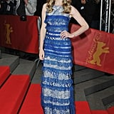 At the Lovelace premiere at the Berlin Film Festival, Amanda Seyfried popped against the red carpet in her blue lace Elie Saab gown.