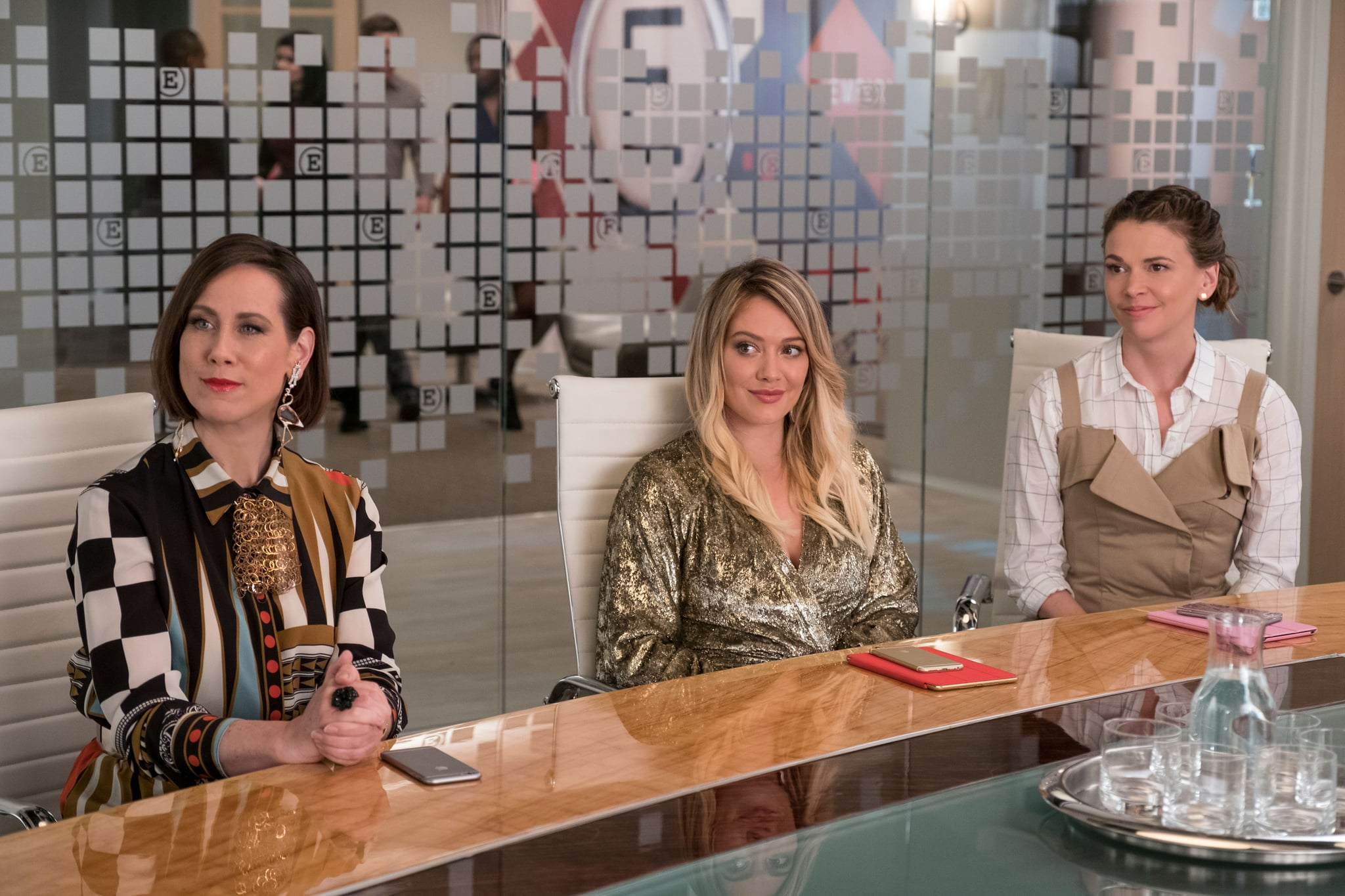 YOUNGER, l-r: Miriam Shor, Hilary Duff, Sutton Foster in 'In the Pink' (Season 4, Episode 4, aired July 19, 2017).  TV Land/courtesy Everett Collection