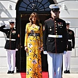 Melania wore a floral print dress from Emilio Pucci in June 2017 while welcoming the Indian prime minister to the White House.