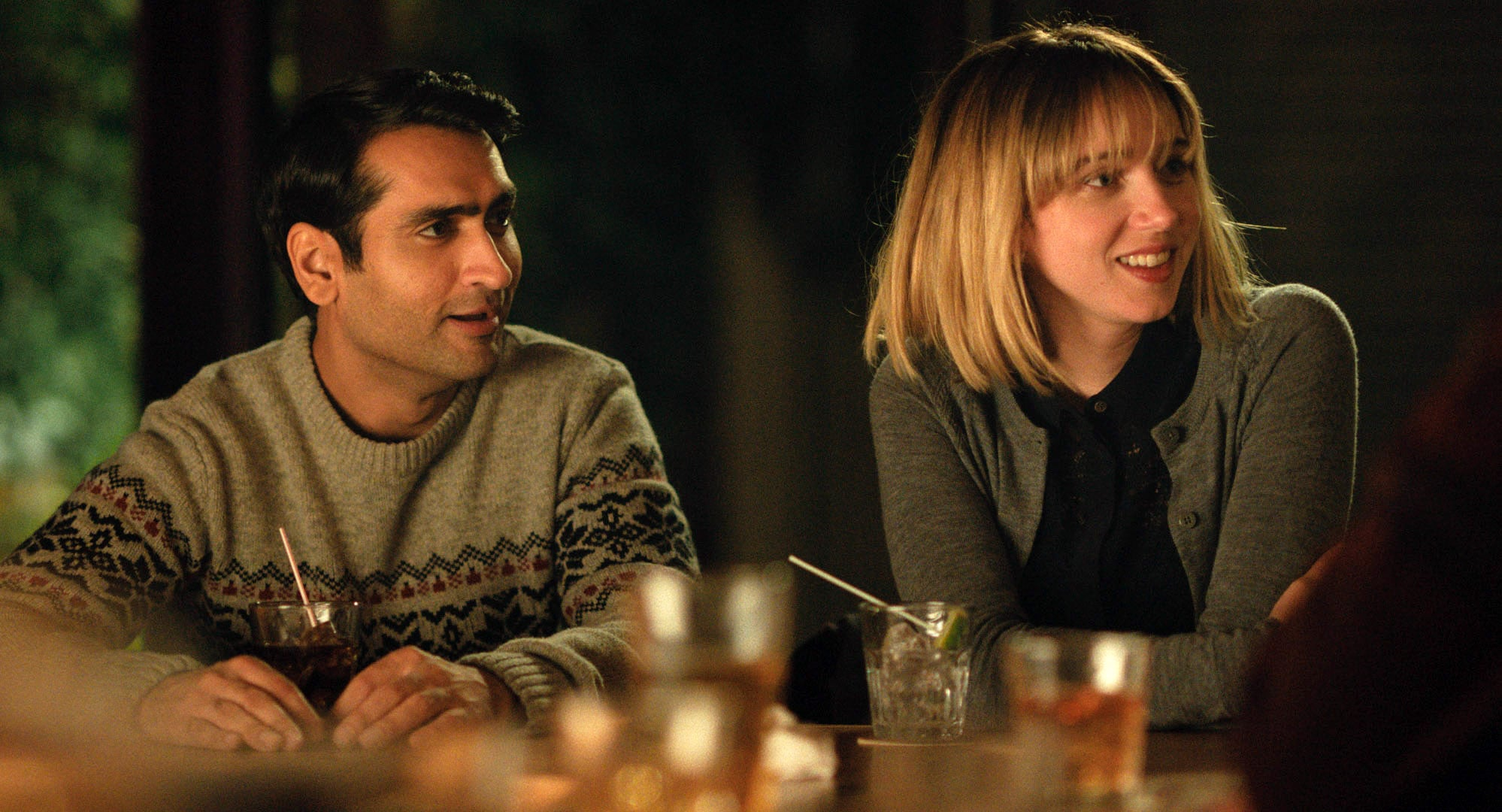 THE BIG SICK, from left: Kumail Nanjiani, Zoe Kazan, 2017.  Lionsgate /Courtesy Everett Collection