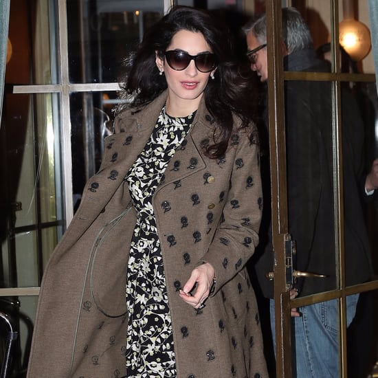 Amal Clooney Wearing Florals in Paris February 2017