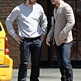 Jake Gyllenhaal kept the star power coming with a Saturday street meeting in the East Village with Jude Law.