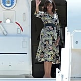 For her farewell, the FLOTUS stayed on theme in a floral print sheath.