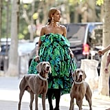 If this looks like something straight out of a fashion fantasy, it kind of is. Celine posed for a photoshoot on the streets of Paris in this floral gown, with two Weimaraners at her side, no less.