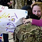 Seven-year-old Jessica hugged her dad, Flight Lt. Andy Power, when they were reunited.
