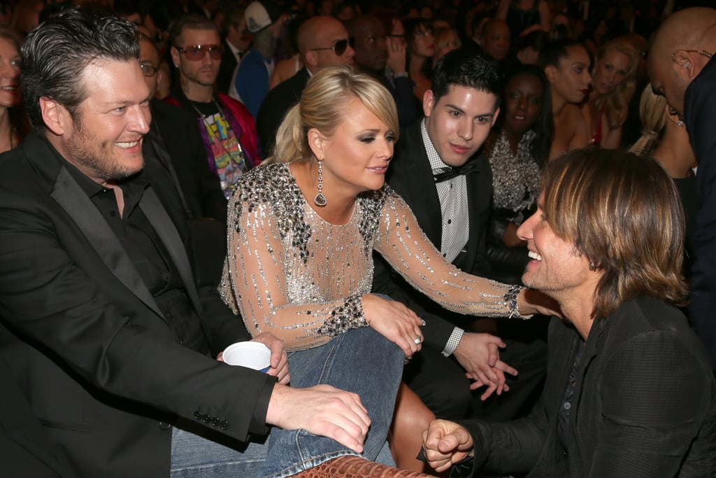 Blake Shelton, Miranda Lambert, and Keith Urban had a country music reunion inside the Grammy Awards on Sunday night.