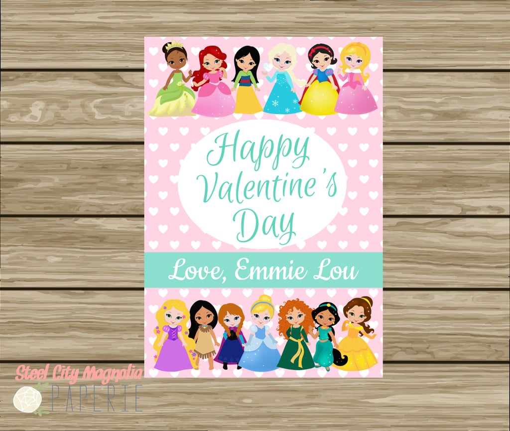 Disney Princesses Cartoon Valentines