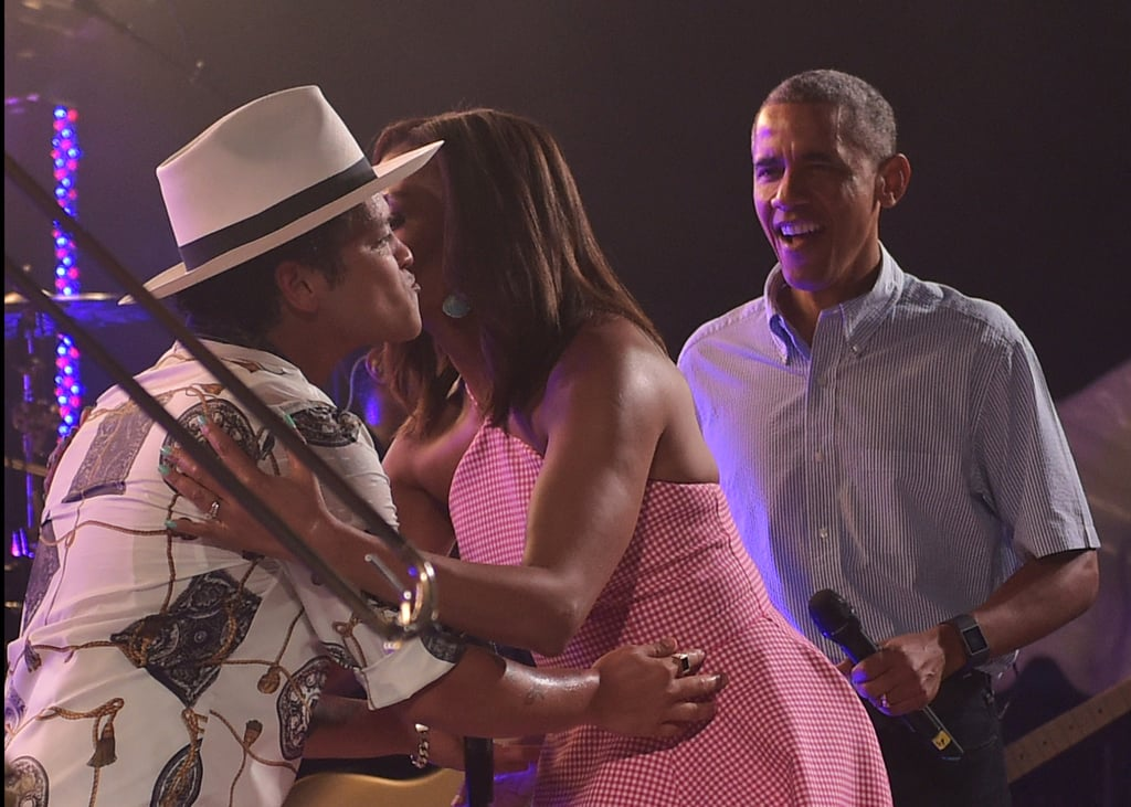 Michelle hugged it out with Bruno Mars before his performance at the White House in 2015.