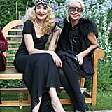 Jerry Hall took a seat with friend Amanda Eliasch.