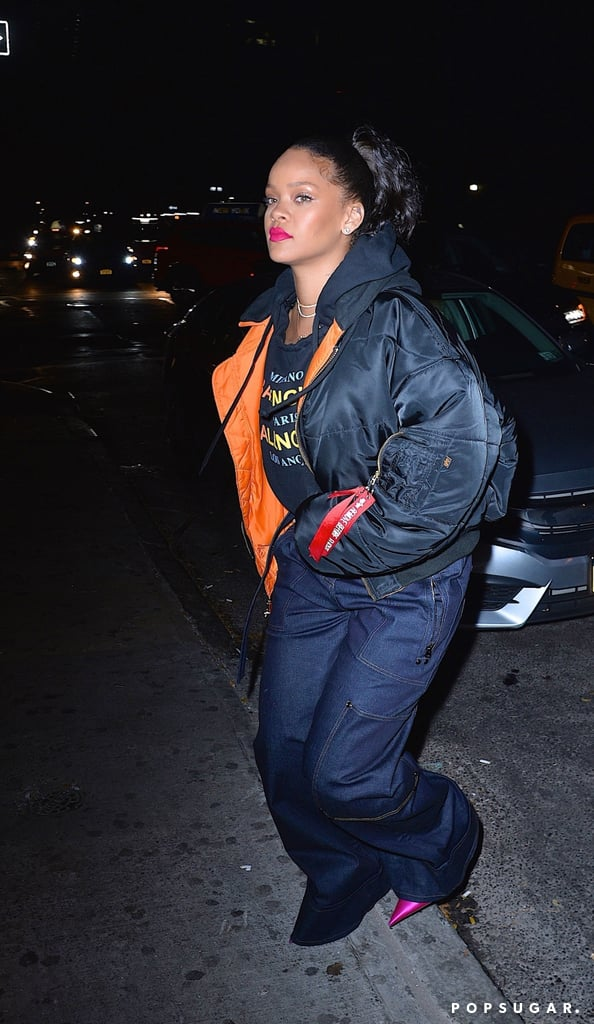 "Rihanna definitely made a statement when she was spotted wearing an engagement ring at a nightclub in New York City on Friday night. The ""Diamonds"" singer attempted to hide her hand in her pockets after she noticed the paparazzi snapping photos of her, but it was already too late. Could it mean that our favorite bad gal is headed down the aisle with her billionaire boyfriend, Hassan Jameel?  Back in June, fans on Twitter could not contain their chill when photos leaked of Rihanna making out with the 29-year-old in a pool in Ibiza. Now, it appears their relationship may have moved on to the next level, but we've yet to receive an official confirmation from either of the two. So, we just have to ask, what's that rock doing on your ring finger, Ri? Keep reading to see the stunning engagement ring up close.      Related:                                                                                                           7 Famous Men Who've Been Lucky Enough to Score a Date With Rihanna"