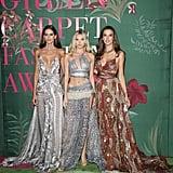 Izabel Goulart, Elsa Hosk, and Alessandra Ambrosio at The Green Carpet Fashion Awards 2019