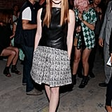 Jessica Chastain stepped out for Proenza Schouler's Spring show in New York in a peplum leather top and a tweedy skirt.