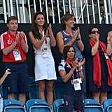 Catherine, Duchess of Cambridge, joined Olympian Kelly Holmes for the women's field hockey bronze medal match between New Zealand and Great Britain.