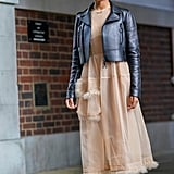 A Leather Jacket, Neutral Maxi dress, and White Trainers