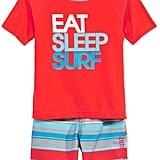 2-Piece Eat Sleep Surf Rash Guard Set