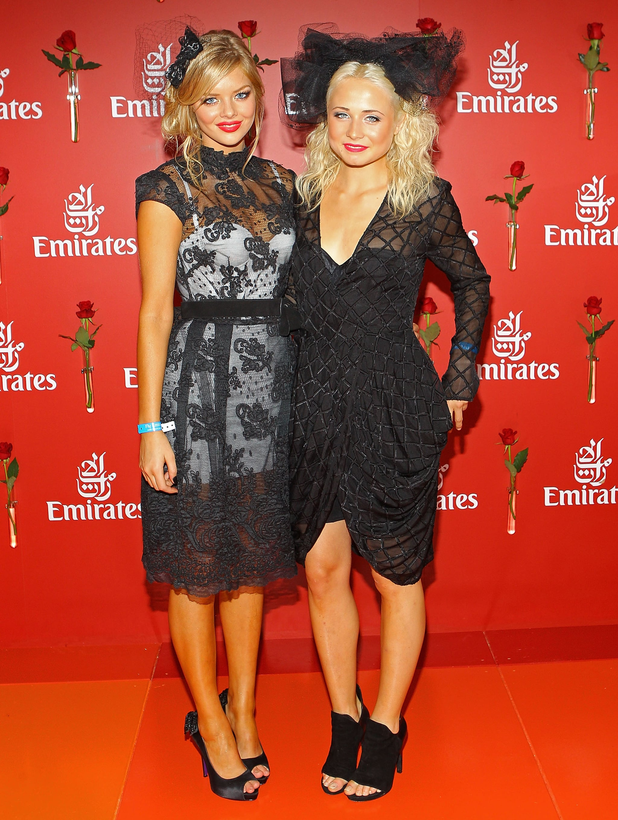 Lacy ladiesTess James and Samara Weaving (in Alex Perry)