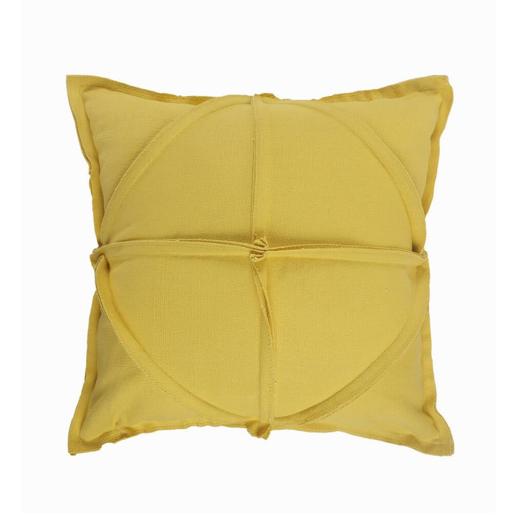 LR Home Solid Textured Mustard Yellow Geometric Cozy Poly-Fill 20 in. x 20 in.