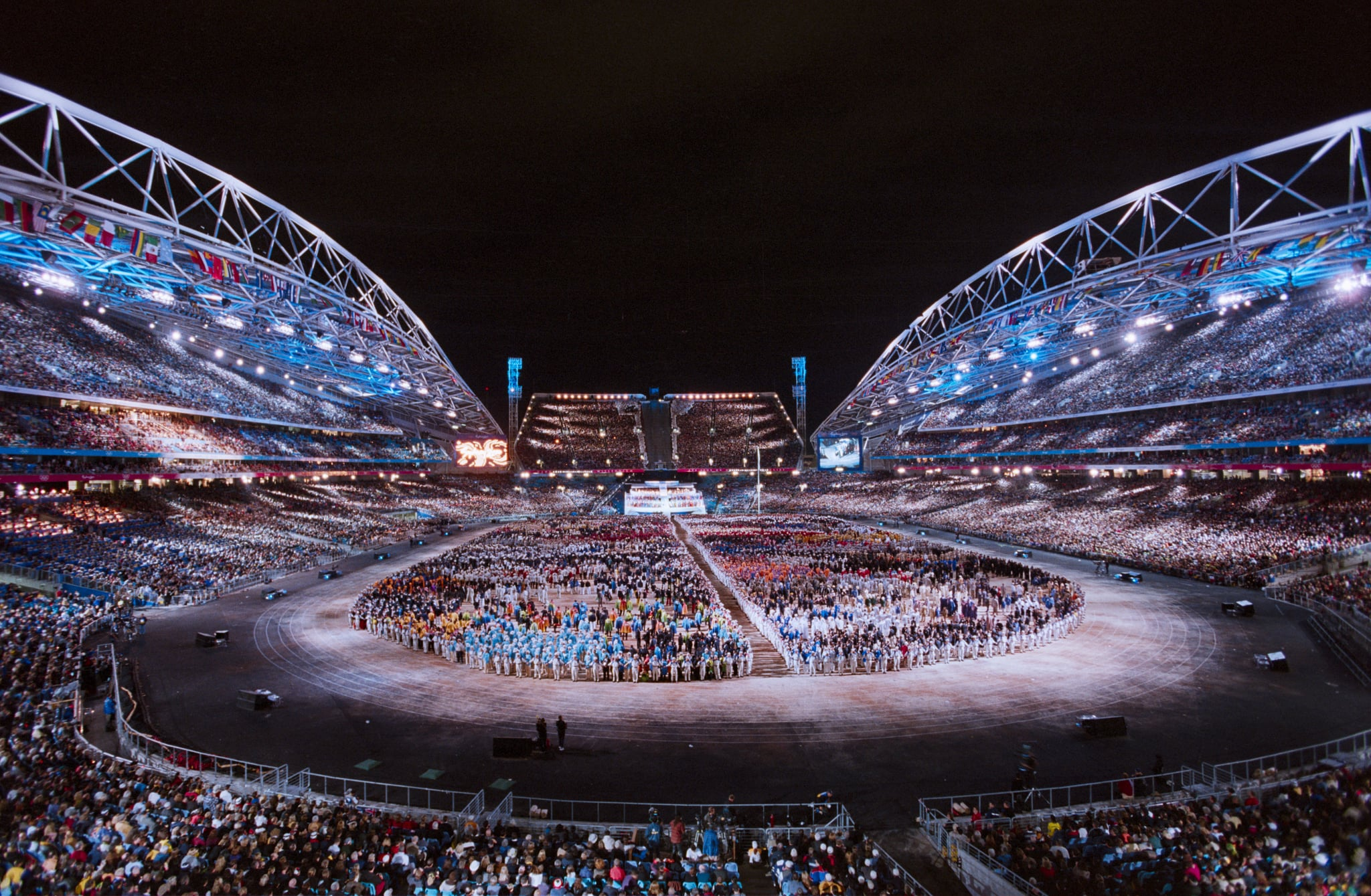 SYDNEY, AUSTRALIA - SEPTEMBER 15:  A general view of the Opening Ceremonies of the 2000 Olympic Games held on September 15, 2000 at Stadium Australia in Sydney, Australia.  (Photo by David Madison/Getty Images)