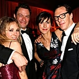Benedict Cumberbatch and his pregnant fiancée, Sophie Hunter, partied with fellow Brits Dominic West and Juno Temple at the Weinstein Company event.