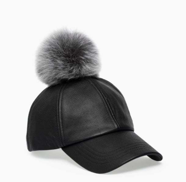 Women's Leather Baseball Hat with Fur Pom