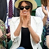 July: Meghan showed up at Wimbledon with her longtime friends to watch pal Serena Williams compete.