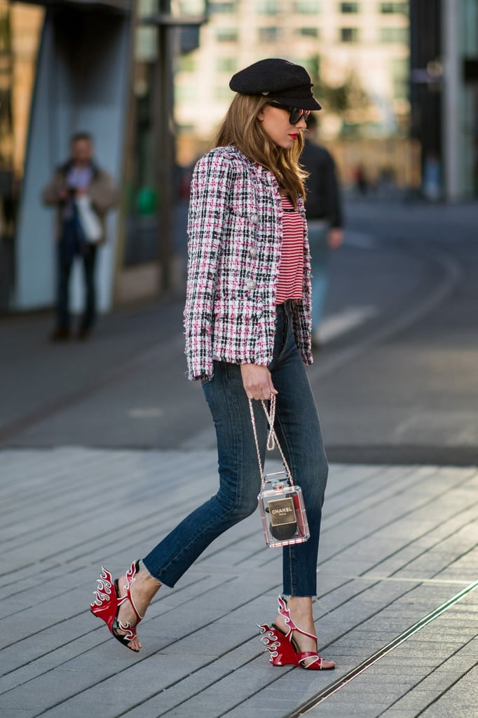 Use skinny jeans as a neutral canvas when you pair statement jackets and heels alike with your new denim favorite.