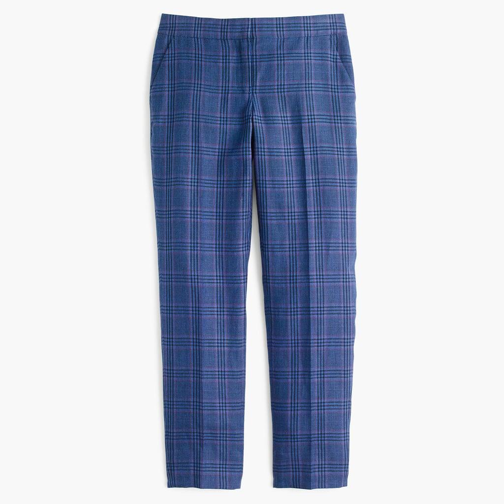 J.Crew Paley Linen Wool Plaid Pants ($148)