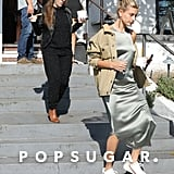 Hailey Baldwin Silver Slip Dress With Justin Bieber's Mom