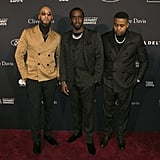 Swizz Beatz, Diddy, and Nas at Clive Davis's 2020 Pre-Grammy Gala in LA