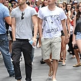 Penn Badgley and Ed Westwick arrived on set in NYC.