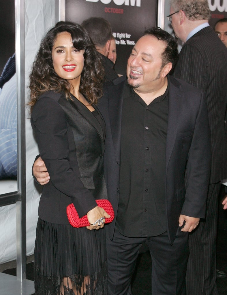 Salma Hayek wore a black blazer over her dress when she arrived at the premiere.