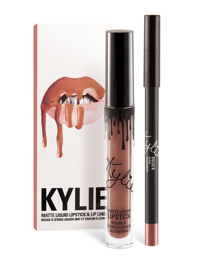 """I like lip liners over lipsticks. I have so many of them from so many different brands, so I just pick the color that works. I'm in the middle of creating my own lip kit, and I'm doing my three favorite colors: nude, a sepia color and a true brown."" Kylie Cosmetics Lip Kit in Dolce K ($29)"