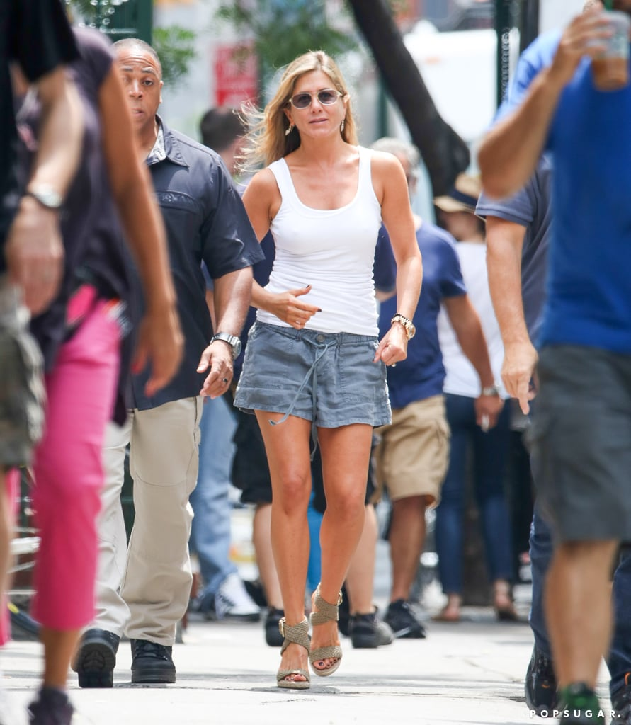Jennifer Aniston filmed on the streets of NYC.