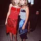 Then: Remember when you collected all of the Olsens' home videos in the '90s? That's when MK and A were hitting up the red carpets in slinky patchwork dresses and matching sandals with chunky soles.