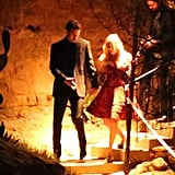 Ryan escorted Kaley down the stairs at their wedding bash.