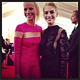 Gwyneth Paltrow and a very blond Anne Hathaway posed together in their Valentino dresses before heading inside. Source: Instagram user maisonvalentino