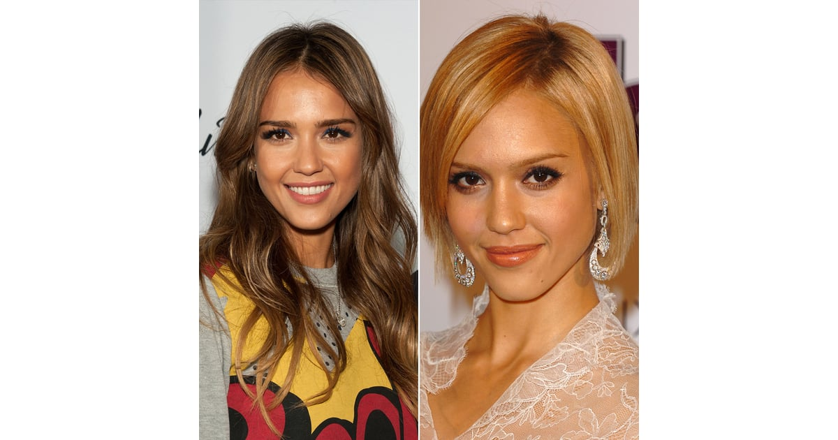 jessica alba celebrities with long and short hair