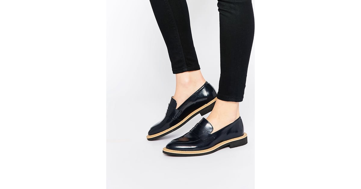 Selected Femme Mira Navy Leather Loafer Flat Shoes