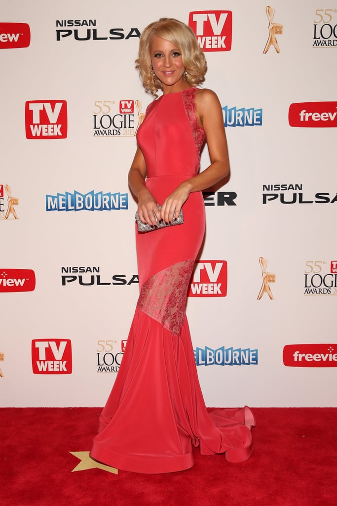 Carrie Bickmore chose a watermelon-hued Steven Khalil gown for her 2013 Logies appearance. The Project's leading lady is up for two awards tonight: most popular presenter and the Gold Logie. She's in the running for the night's biggest honour again and faces competition from fellow presenters Adam Hills, Hamish Blake and Andy Lee, and actors Asher Keddie and Steve Peacocke. Click through for more pics and don't forget to weigh in on Carrie's look on our fashion and beauty polls!