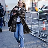 Style Your Leopard-Print Coat With: A T-Shirt, Jeans, and Sneakers