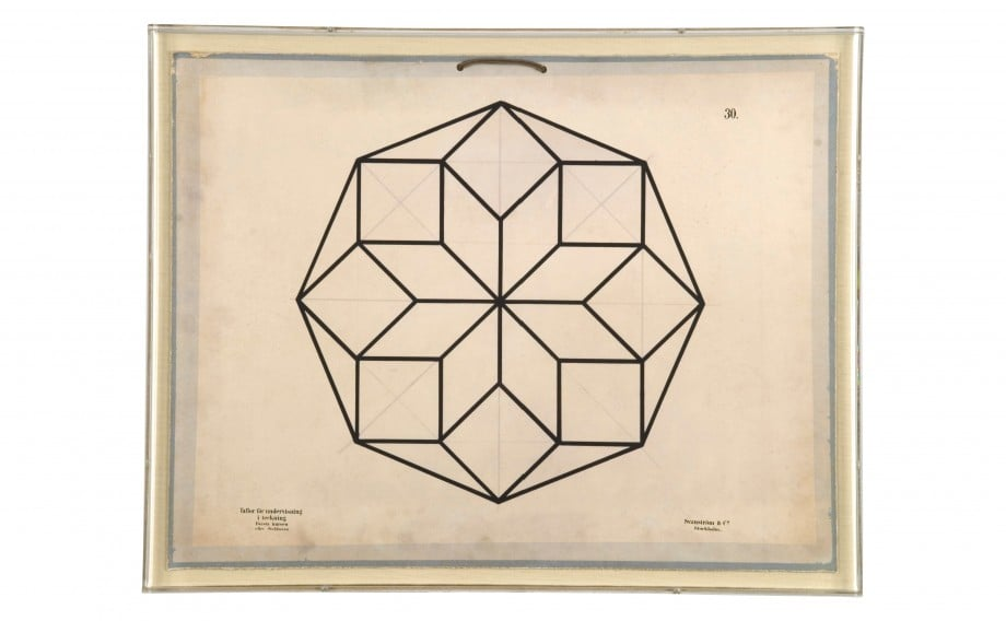 Baptiste Geometric #5 ($1,000) is a reproduction of educational plates used to explain the role of geometry in science in 1896.