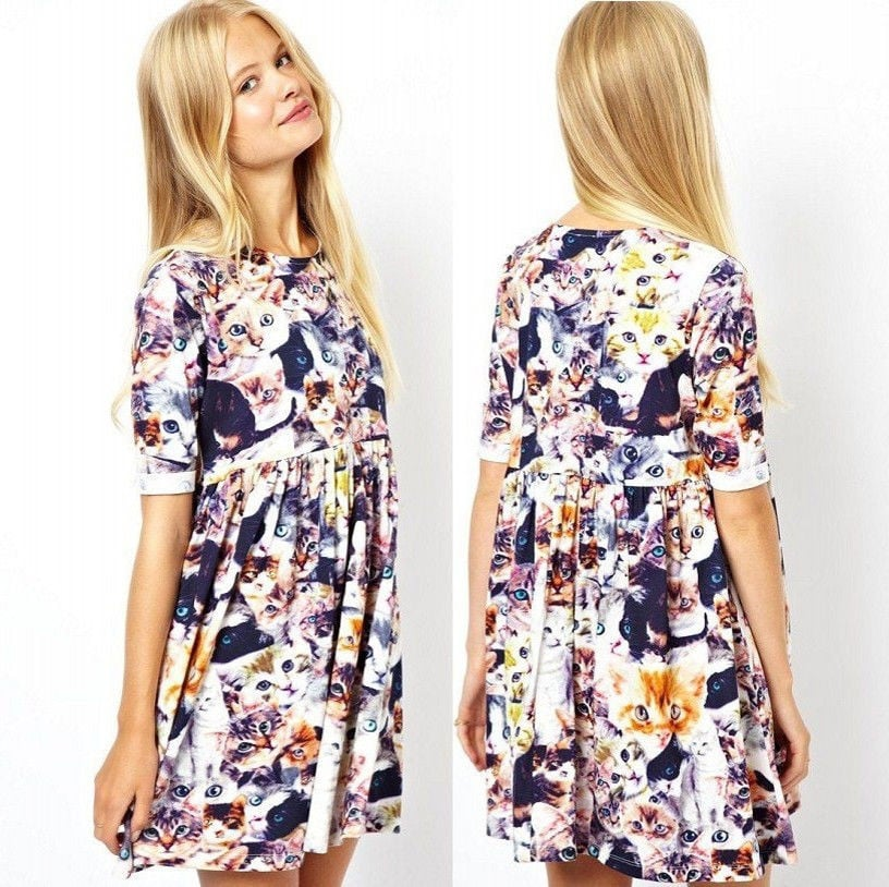 Just think of all the fun places you'll wear this cat faces skater dress ($27).